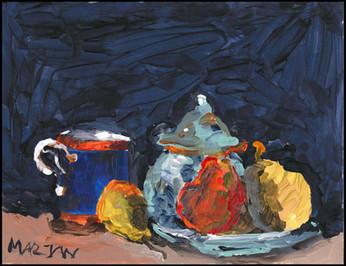 Sucrier, tasse bleue et Poires (after Paul Cezanne)