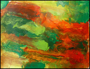 Abstract Orange and Greens
