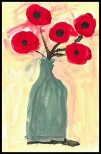 Poppies in Green Vase