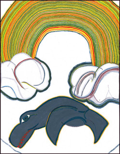Native Whale and Rainbow