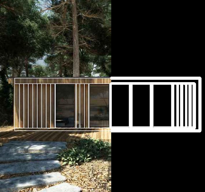 Woodenfactory Holzhaus Strichzeichnung