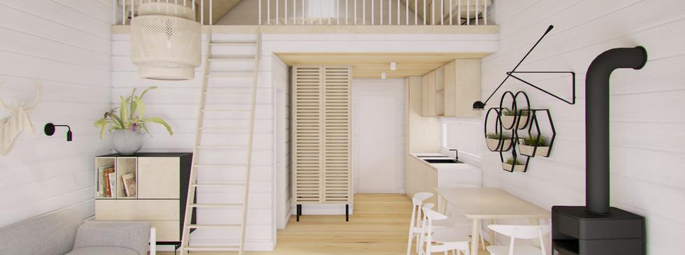 Woodenfactory Holzhaus Woodland Wohnzimmer