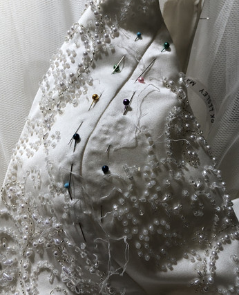 Altering a heavily beaded bodice over the bust