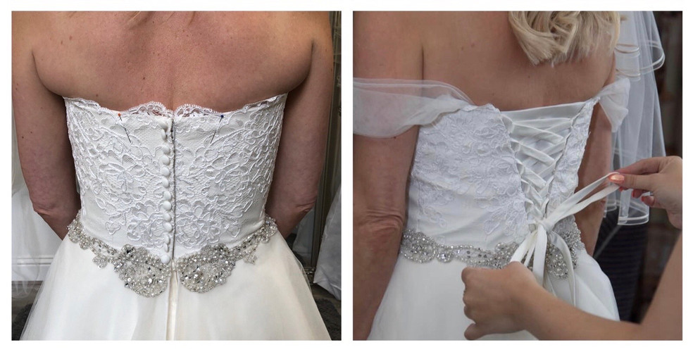 A zip and button back transformed into a corset feature