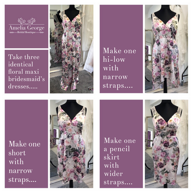 Personalising 1 style of dress for 3 different bridesmaids
