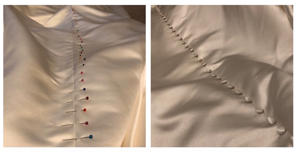 Buttons made in hem offcuts and stitched all the way to the hem