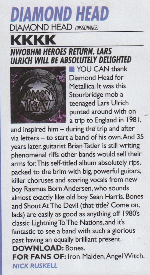 Kerrang - Diamond Head 2016 Review