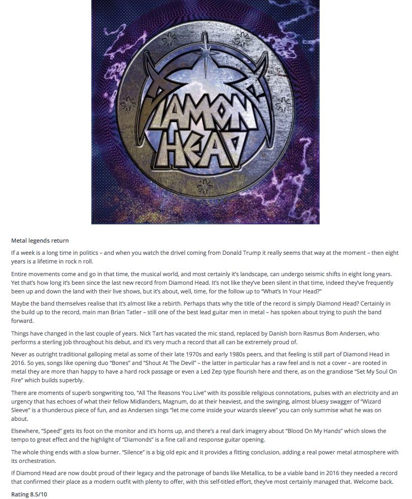 Maximumvolumemusic.com - Diamond Head 2016 Review
