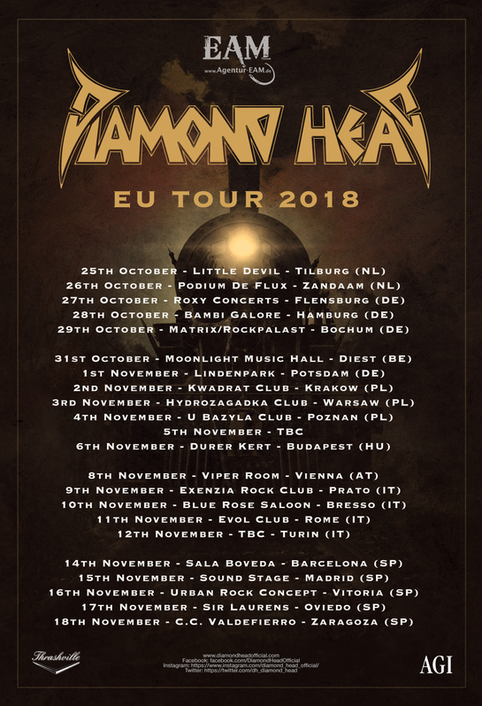 Diamond Head EU tour 2018