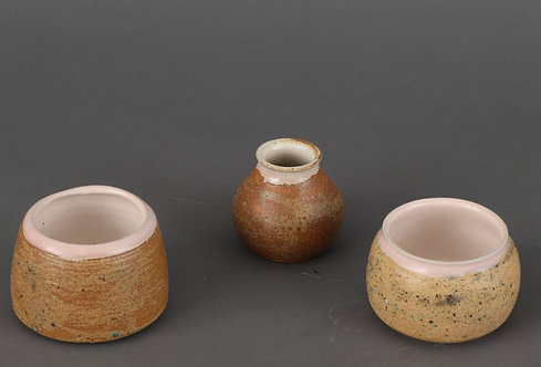 Pink rimmed ash glazed pots (individually priced)
