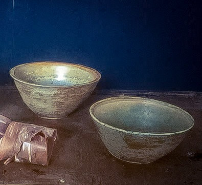 Willow ash glazed ceramic bowls (set of two or individually priced).