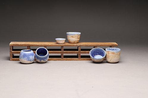 Blue willow ash glaze pots (individually priced)