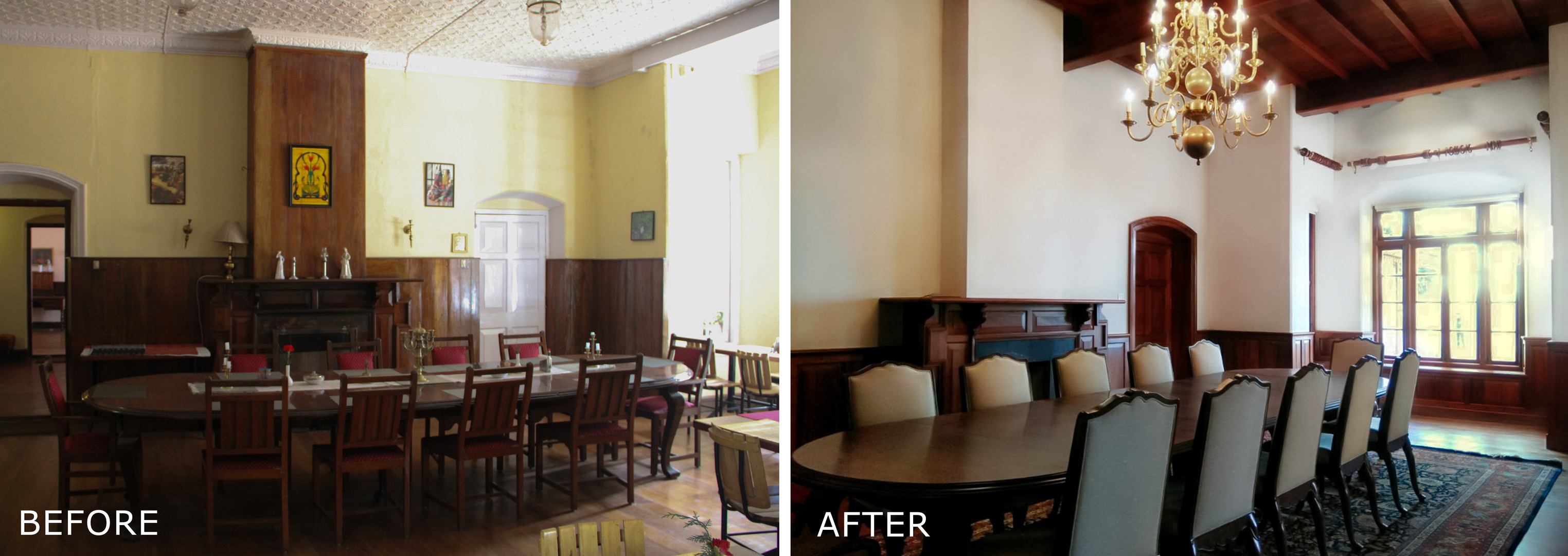 Before and After - Interior Dining room