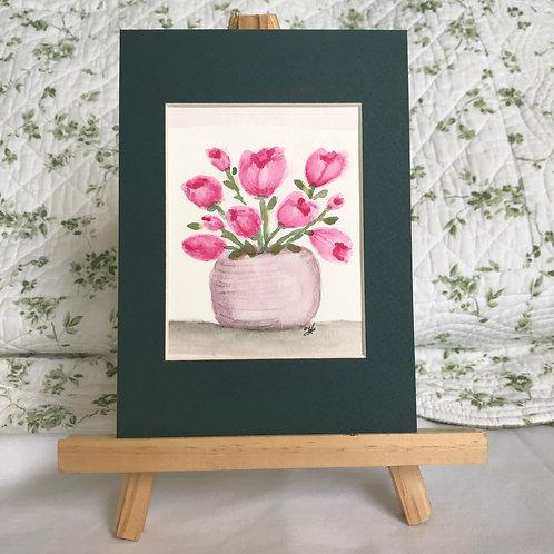 Pot of Tulips - original watercolor