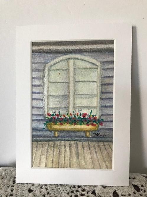 Borden Station Window - original watercolor