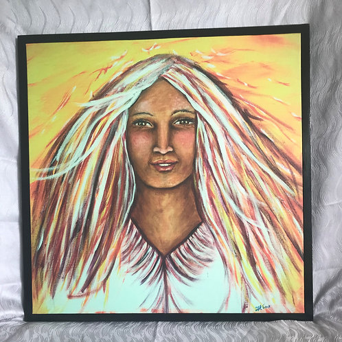Woman of Fire - Framed Canvas Print