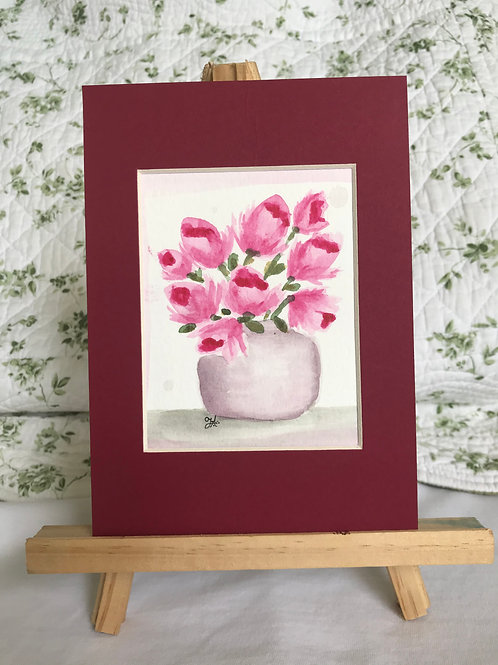 Fancy Pink Tulips - original watercolor
