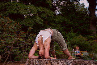 Laura performing a Yoga position