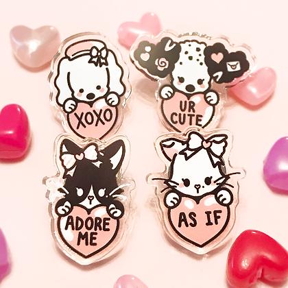 Sweetheart Clear Mini Acrylic Pins
