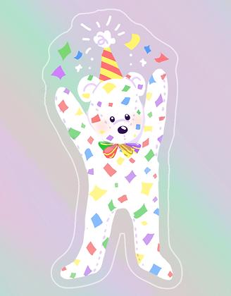 Confetti Bear Holographic Single Sticker