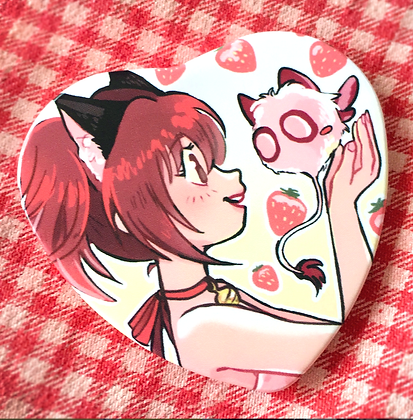 Mew Strawberry Heart Button