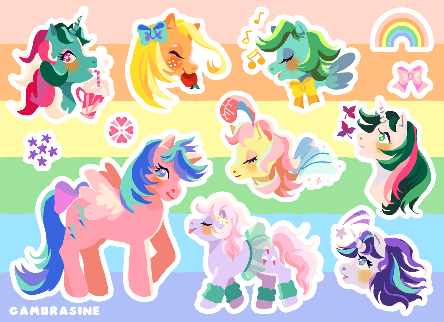 "Classic Ponies Vinyl Sticker Sheet 5"" x 7"""