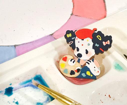 Artist Dollie Rainbow Palette Wooden Pin