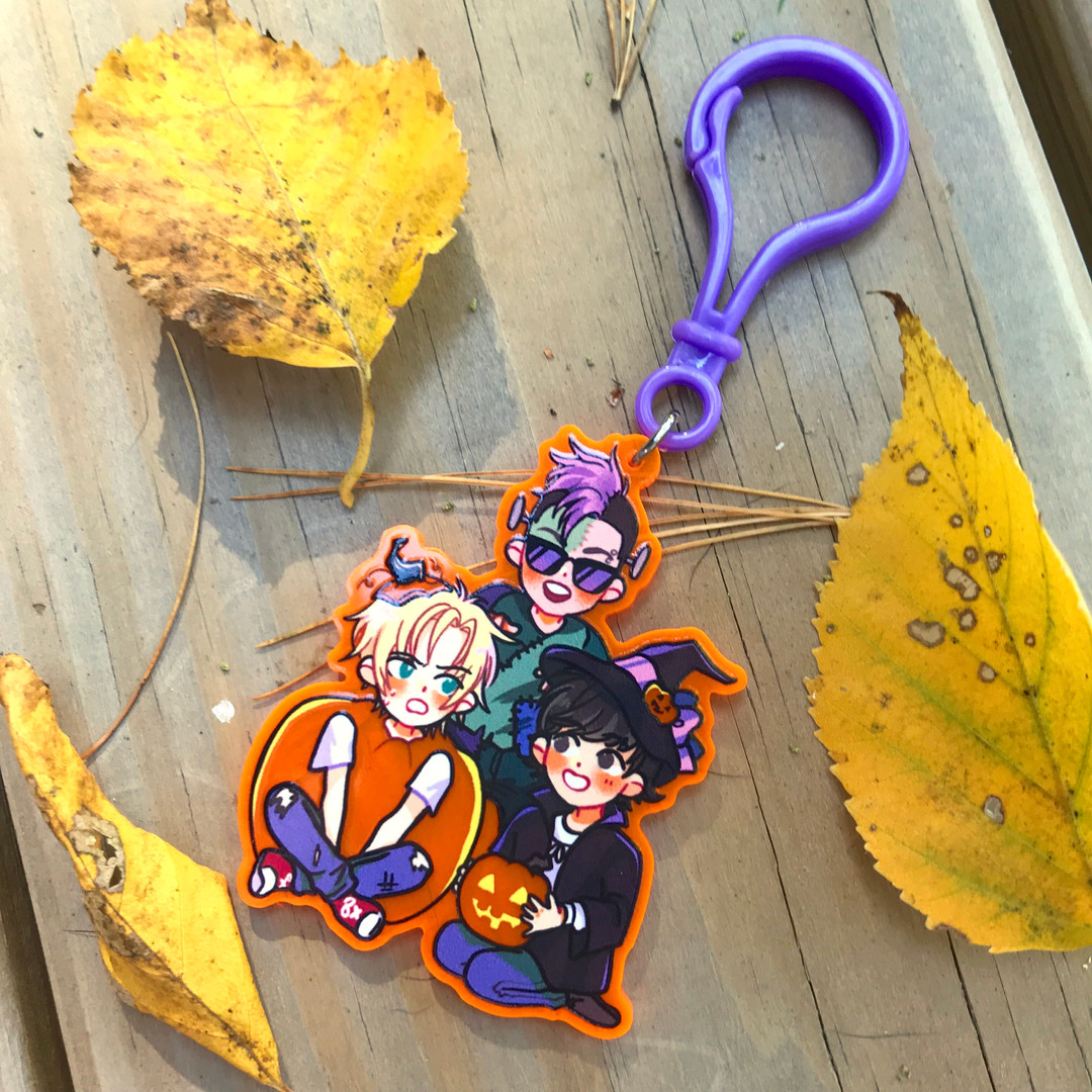 Fluorescent Orange Acrylic Keychain