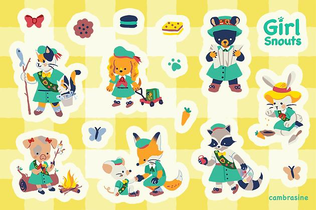 Girl Snouts Sticker Sheet