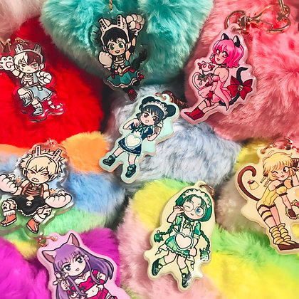 Deluxe Charm Heart Pompom Keychain