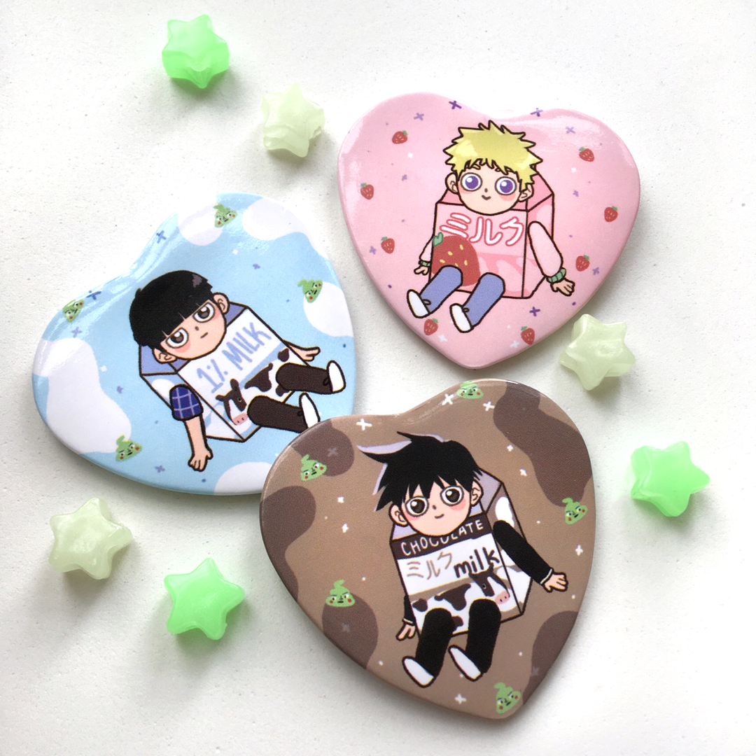 Milk Heart Buttons