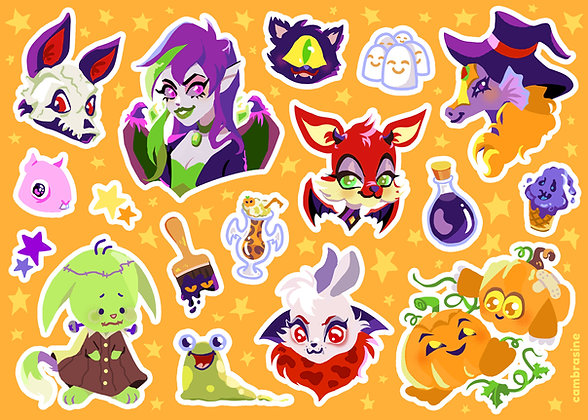 Spooky Virtual Pet Sticker Sheet