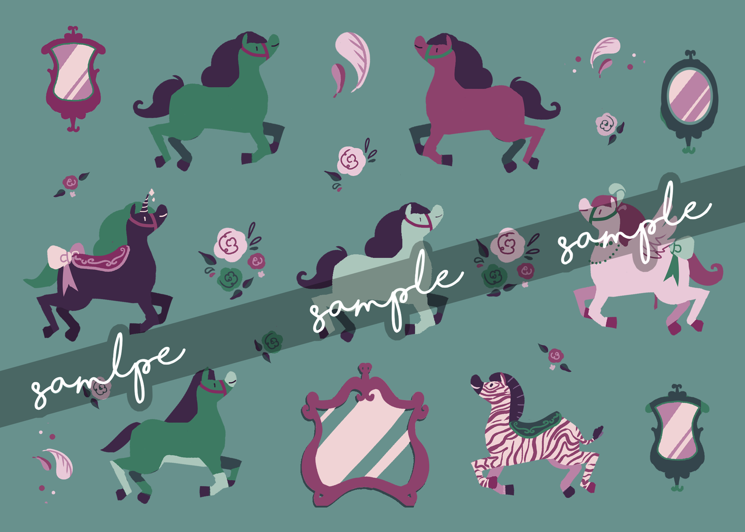 "Modern Merry-go-Round Vinyl Sticker Sheet 5"" x 7"""