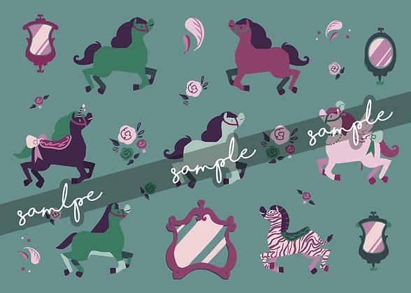 Modern Merry-go-Round Sticker Sheet
