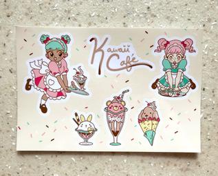 "Maid Café Vinyl Sticker Sheet 4"" x 6"""