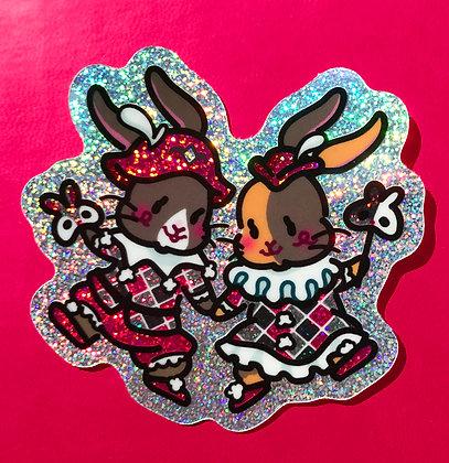 Harlequin Rabbits Holo Stardust Glitter Sticker