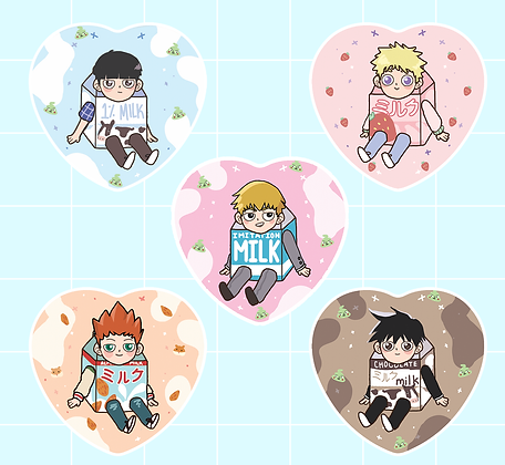 Milk Psycho 100 Heart Buttons