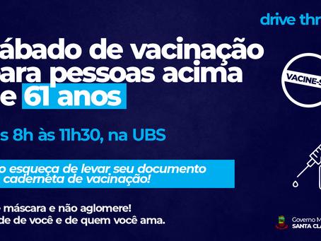 DRIVE-THRU DE VACINAÇÃO PARA PESSOAS ACIMA DE 61 ANOS NESTE SÁBADO