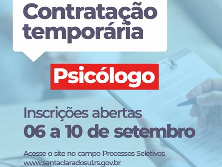 Município abre inscrições para contratação temporária de psicólogo especialista na área educacional