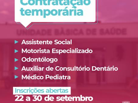 Município abre inscrições para contratações temporárias na área da saúde