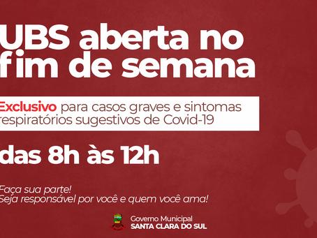 UBS ABRIRÁ FIM DE SEMANA PELA MANHÃ PARA ATENDIMENTOS COVID-19
