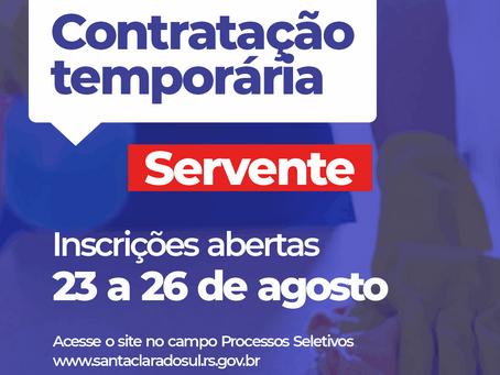 Município abre inscrições para contratação temporária de servente