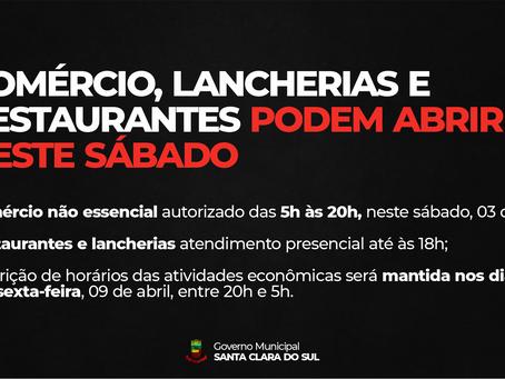 ESTADO AUTORIZA ABERTURA DO COMÉRCIO, LANCHERIAS E RESTAURANTES NESTE SÁBADO