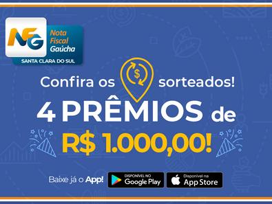 Município sorteia R$ 4 mil pelo Nota Fiscal Gaúcha