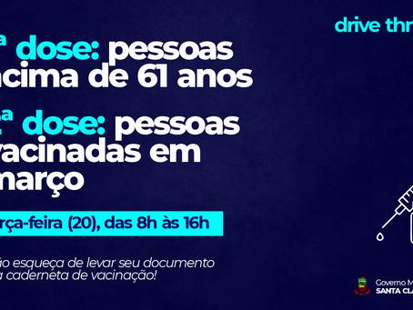 DRIVE-THRU DE VACINAÇÃO SEGUE NESTA TERÇA-FEIRA, COM 1ª DOSE PARA PESSOAS ACIMA DE 61 ANOS E 2ª DOSE