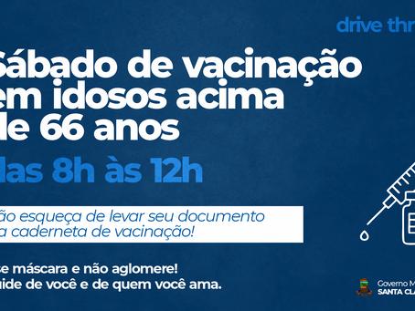 DRIVE-THRU DE VACINAÇÃO PARA IDOSOS ACIMA DE 66 ANOS NESTE SÁBADO (27), DAS 8H ÀS 12H