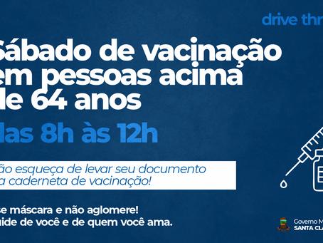 DRIVE-THRU DE VACINAÇÃO PARA PESSOAS ACIMA DE 64 ANOS NESTE SÁBADO (3), DAS 8H ÀS 12H