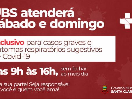 UBS ATENDERÁ CASOS GRAVES E SINTOMAS RESPIRATÓRIOS SUGESTIVOS DE COVID-19 SÁBADO E DOMINGO