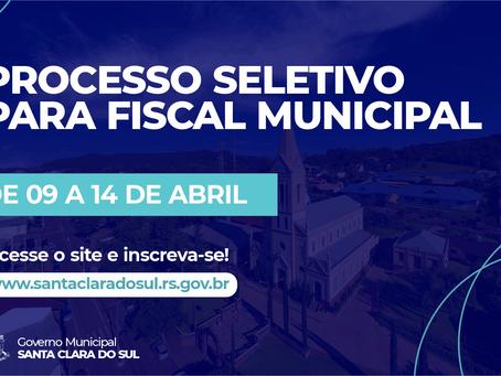 Município abre inscrições para contratação temporária de fiscal