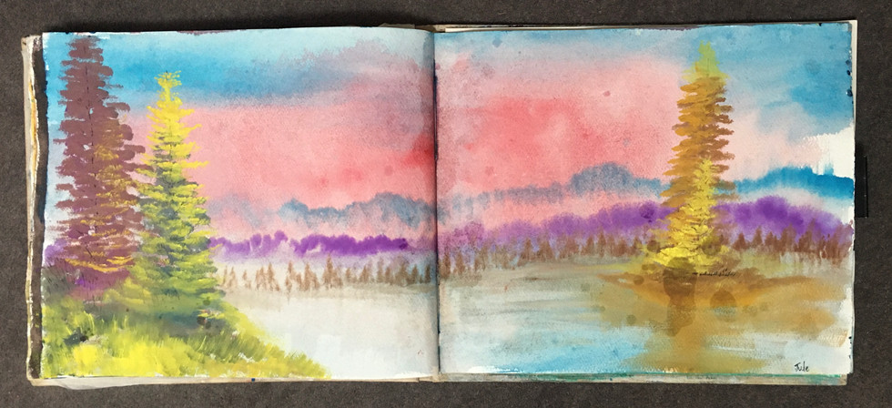Summer Landscape - Gauche on A3 Cotton